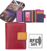 Ladies Quality Compact Soft Multi Coloured Leather RFID Safe Purse Wallet