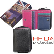 Ladies Quality Small Multi Coloured Leather RFID Safe Purse - Gift Boxed