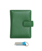T & D Women's Genuine Leather Mini Slim Credit Card Holder Wallet