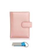 T & D Women's Genuine Leather Mini Slim Credit Card Holder Wallet