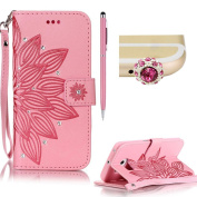 Samsung S6 Edge case,SKYXD PU Premium Leather Wallet Case [With Wrist Strap],Bling Diamond Crystal Luxury Flip Folio Kickstand with Card Slots Emboss [Pink - flower] pattern Design Protective Book Case Cover for Samsung S6 Edge + Black Stylus + Black O ..