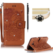 Samsung J5 case,SKYXD PU Premium Leather Wallet Case [With Wrist Strap],Bling Diamond Crystal Luxury Flip Folio Kickstand with Card Slots Emboss [Brown - Rose] pattern Design Protective Book Case Cover for Samsung J5 + Black Stylus + Black Owl Dust Plug