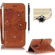 LG LS775 case,SKYXD PU Premium Leather Wallet Case [With Wrist Strap],Bling Diamond Crystal Luxury Flip Folio Kickstand with Card Slots Emboss [Brown - Rose] pattern Design Protective Book Case Cover for LG LS775 + Black Stylus + Black Owl Dust Plug