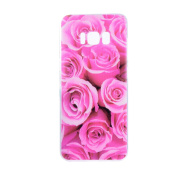 Galaxy S8 Silicone Case,Samsung S8 Tpu Case,Leeook Clear Slim Fit Soft Flexible Elegant Rose Flower Pattern Gel Bumper Transparent Rubber Protective Back Case Cover for Samsung Galaxy S8+ 1 x Free Black Stylus-Rose Flower