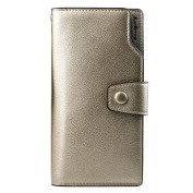 Young & Ming - Women Leather Wallet Large compacity 10 Card Slots 1 Smartphone Slots and 2 Cash position