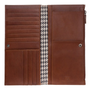 Antica Toscana Large Long Wallet for women in Genuine Leather with side Zip Pocket Card & Document Holders Terracotta
