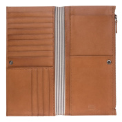 Antica Toscana Large Long Wallet for women in Genuine Leather with side Zip Pocket Card & Document Holders Honey