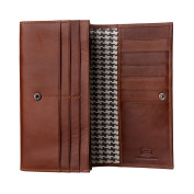 Antica Toscana Women's Large Capacity Genuine Leather Wallet Purse with Zipper Pocket Card Holder and 3 gussets Terracotta