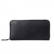 Antica Toscana Womens Zip Wallet Purse in Italian Leather with Coin Pocket and 8 Credit Card Holders Black