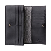 Antica Toscana Women's Large Capacity Genuine Leather Wallet Purse with Zipper Pocket Card Holder and 3 gussets Black