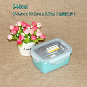 Reusable Food Container/ Food Storage Boxes, 304 Stainless Steel Boxes , Bento Boxes Preservation Box - Blue Square 540Ml ,