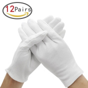 ZesGood 12 Pairs White Cotton Gloves for Skin Protection and in 3 Sizes (XL/L/M Sizes), Provide Uses from Personal Use to Professional Presentation