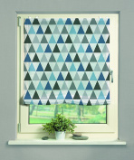 Home Fashion 069/031 0607 140X0060 CM Sisori Voile Roman Blind with Digital Print 140 x 60 cm Sisori Fabric Blue