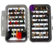 LotFancy Dry Wet Flies Fishing Tackle Box - Nymph Flies, Woolly Bugger Flies, Streamers, Caddis Fly Assortment for Trout Bass Salmon
