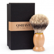 QSHAVE 100% Best Original Pure Badger Hair Shaving Brush Handmade. Real Wood Base. Perfect for Wet Shave, Safety Razor, Double Edge Razor