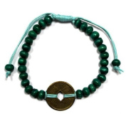 Turquoise Green Bali Good Luck Feng Shui Bracelet with Chinese Talisman coin of luck & fortune by A & W
