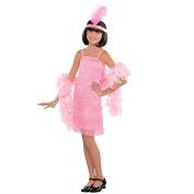 Amscan Kids 1920's Pink Flapper Girls Fancy Dress Costume