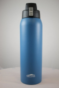 Aquatix (Dark Blue, 950ml) Pure Stainless Steel Double Wall Vacuum Insulated Sports Water Bottle with Convenient Flip Top - Keeps Drinks Cold for 24 Hours, Hot for 6 Hours