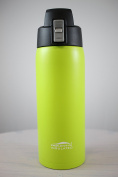 Aquatix (Lime Green, 620ml) Pure Stainless Steel Double Wall Vacuum Insulated Sports Water Bottle with Convenient Flip Top - Keeps Drinks Cold for 24 Hours, Hot for 6 Hours