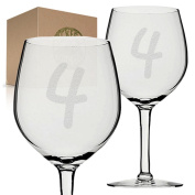Stickerslug Engraved Number 4 Style 54 Four Wine Glasses, 330ml, Set of 2