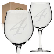 Stickerslug Engraved Number 4 Style 52 Four Wine Glasses, 330ml, Set of 2