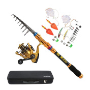 Lixada Full Fishing Kit Combos Telescopic Fishing Rod Pole with Spinning Reel Line Lures Hooks Fishing Carrier Bag Case Fishing Gear Accessories Organiser