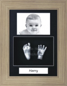 BabyRice Baby Casting Kit / 29cm x 22cm Oak Effect Frame / Black 3 Hole Portrait Mount / Black Backing / Silver Paint