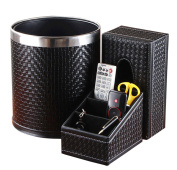 Leather Double Stainless Steel Trash Cans Household Living Room Storage Barrels,Black