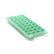 Yiliay Easy Release Ice Cube Trays Stackable Freezer Tray Silicone Ice Moulds With Lids-36 Cube/Green
