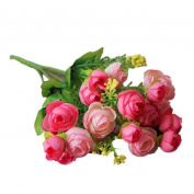 Outtop 21 Heads 29cm Pastoral Artificial Flowers Bouquets Real Touch Fake Flower for Home and Wedding Decoration