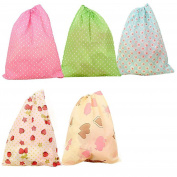 Overfeel 10pcs Non-woven Dustproof Printing Shoes Bag Portable Travel Storage Pouches with Drawstring