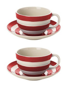 Cornishware Red and White Stripe Set of 2 Breakfast Cups and Saucers