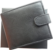 Card Holder Wallet Black RFID Scanner Proof Soft Leather Large Zipped Coin Pocket Gift Boxed