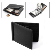 Ultra-slim Leather Men Wallet, Faux Cowhide Leather, Bi-Fold Flip Wallet with 6 Credit Card Slots, Note Clip, Coin Pocket