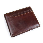 Aphison RFID Blocking Wallet for Men, Brown Genuine Leather Bifold Wallet with Central ID Window /Gift Box