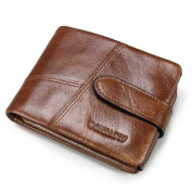 HIRAM Men's Genuine Leather Cowhide Bifold Trifold Short Wallet with Removeable Coin Pocket