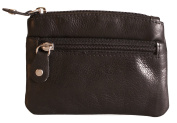 Brunhide Genuine 100% Soft Leather Coin Purse With Key Ring # 211-300 - Black