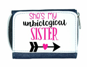 She's My Unbiological Sister Right Arrow BFF Statement Matching Best Friends Ladies Purse - Blue
