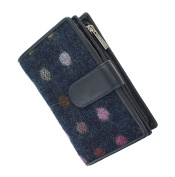 Mala Leather ABERTWEED Collection Leather & Tweed Purse With Tab Closure 3124_40 Navy Spot