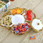 KHSKX Dried fruit plate, practical sub-grid with covered fruit plate, modern Chinese ornaments Decoration, creative living room coffee table fruit plate, candy plate