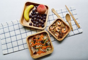 K & C 21cm Square Beech Wood Salad Bowl Serving Salad Pasta Soup and Fruit Large