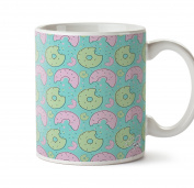 Hippowarehouse Dinky Doughnuts Pattern printed mug cup ceramic 300ml