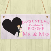 Red Ocean Countdown Days Until Mr & Mrs Couple Chalkboard Wedding Engagement Gift Sign