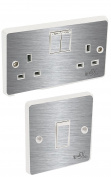 Brushed Silver Light Switch & Double Socket Sticker Vinyl / Skin cover