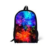 ThiKin Cosmos Print Stylish Felt Polyester Black Double zipped Casual Daypacks, Laptop Backpack, Bookbags, Casual Bag, School Backpacks -- for Students, College, Travelling, Weekend Trip, Hiking