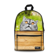 Injersdesigns Casual Backpacks Canvas Leisure Animals Backpack School Bags for Teenagers Girls Boys Bookbags Women Men Travel Laptop Rucksack