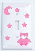 Pink Teddy Bear Light Switch Plate Single Toggle Covers with Blue Moon and Stars / Teddy Bear Nursery Decor