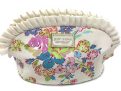Betsey Johnson Large Ruffle White Floral Cosmetic Bag