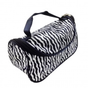 Brendacosmetic Fashion Women Zebra Stripes Nylon Travel Cosmeics Bag Handbag ,Portable Storage Bag Makeup Bag Toiletry Bag for Organising.