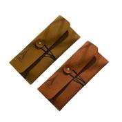 Garrelett Eiffel Tower Pattern Retro Suede Leather Wallet Purse for Man & Women, Portable Mini Coin Card Keys Bag Case Easy Mount Pouch Hand Bag Holder
